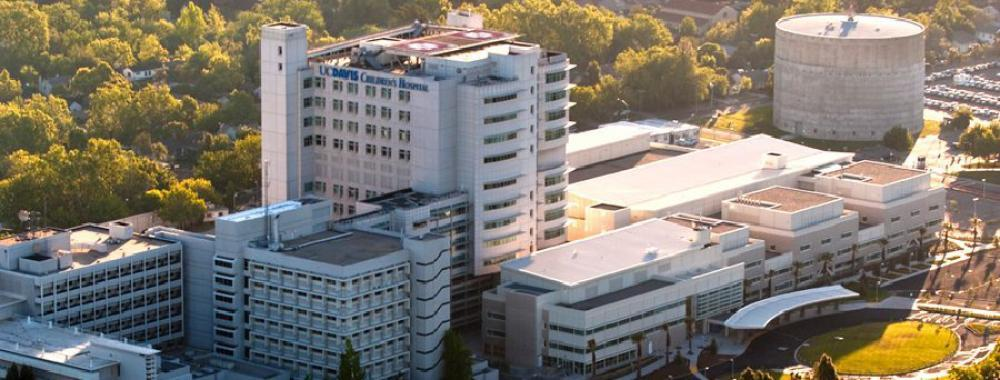 Aerial photo of UC Davis Health System buildings.
